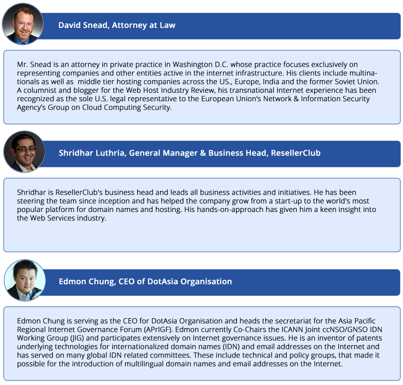 speakers blurbs ResellerClub presents HostingCon India!
