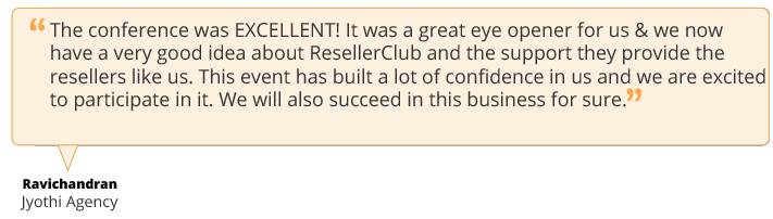 testimonial mailer3 2 ResellerClub presents HostingCon India!